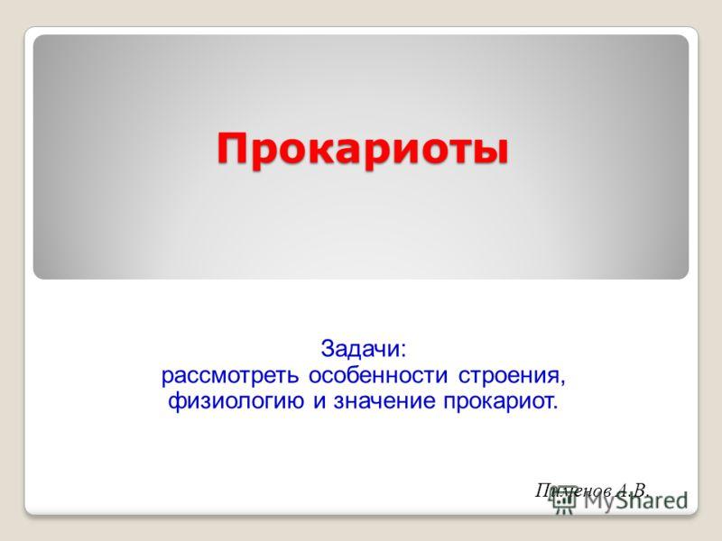 Прокариоты Пименов А.В. Задачи: рассмотреть особенности строения, физиологию и значение прокариот.