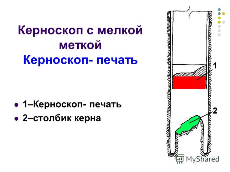 Керноскоп с мелкой меткой Керноскоп- печать 1–Керноскоп- печать 2–столбик керна