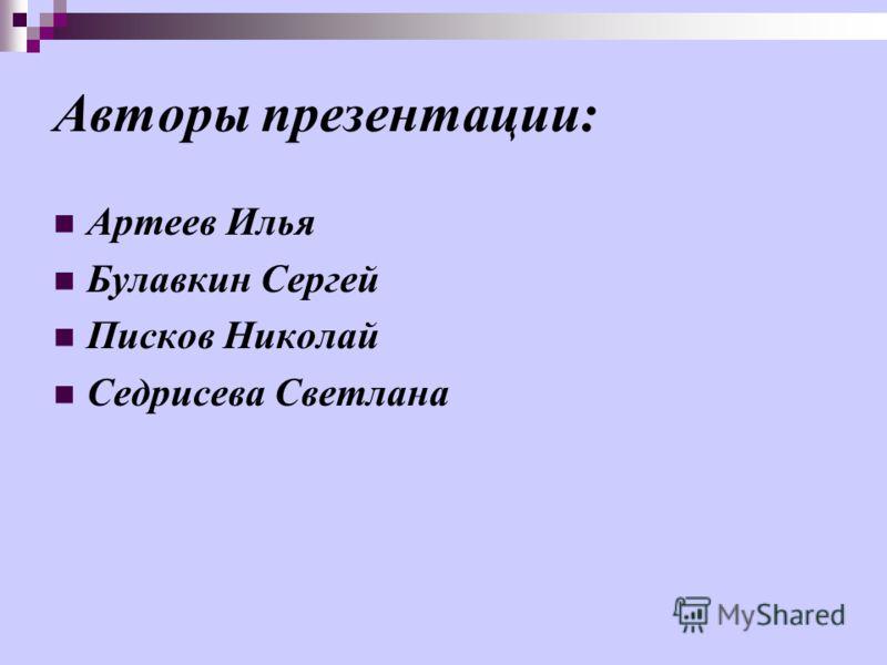 Авторы презентации : Артеев Илья Булавкин Сергей Писков Николай Седрисева Светлана