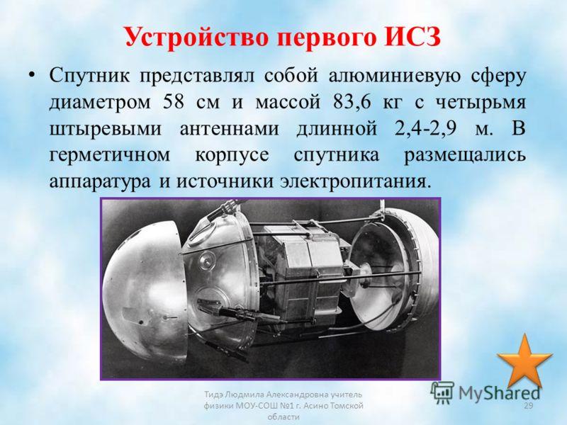 Устройство первого ИСЗ Спутник представлял собой алюминиевую сферу диаметром 58 см и массой 83,6 кг с четырьмя штыревыми антеннами длинной 2,4-2,9 м. В герметичном корпусе спутника размещались аппаратура и источники электропитания. Тидэ Людмила Алекс