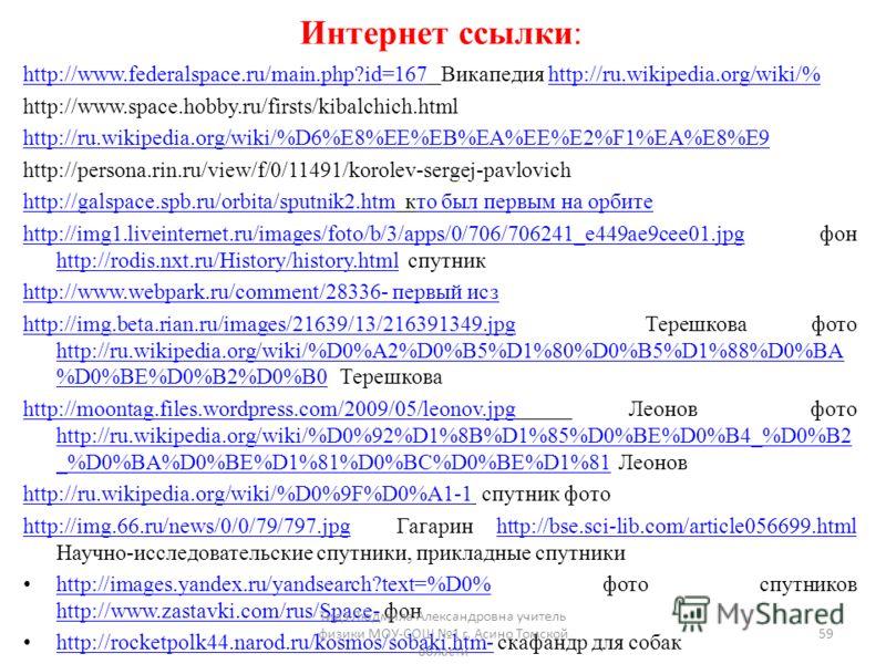 Интернет ссылки: http://www.federalspace.ru/main.php?id=167http://www.federalspace.ru/main.php?id=167 Викапедия http://ru.wikipedia.org/wiki/%http://ru.wikipedia.org/wiki/% http://www.space.hobby.ru/firsts/kibalchich.html http://ru.wikipedia.org/wiki