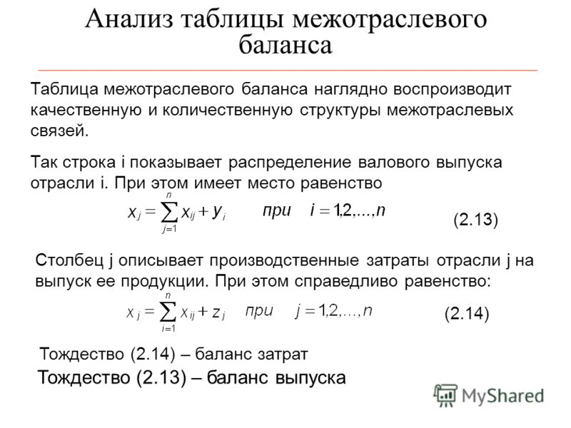 Анализ таблицы межотраслевого баланса Таблица межотраслевого баланса наглядно воспроизводит качественную и количественную структуры межотраслевых связей. Так строка i показывает распределение валового выпуска отрасли i. При этом имеет место равенство