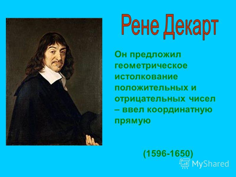Он предложил геометрическое истолкование положительных и отрицательных чисел – ввел координатную прямую (1596-1650)