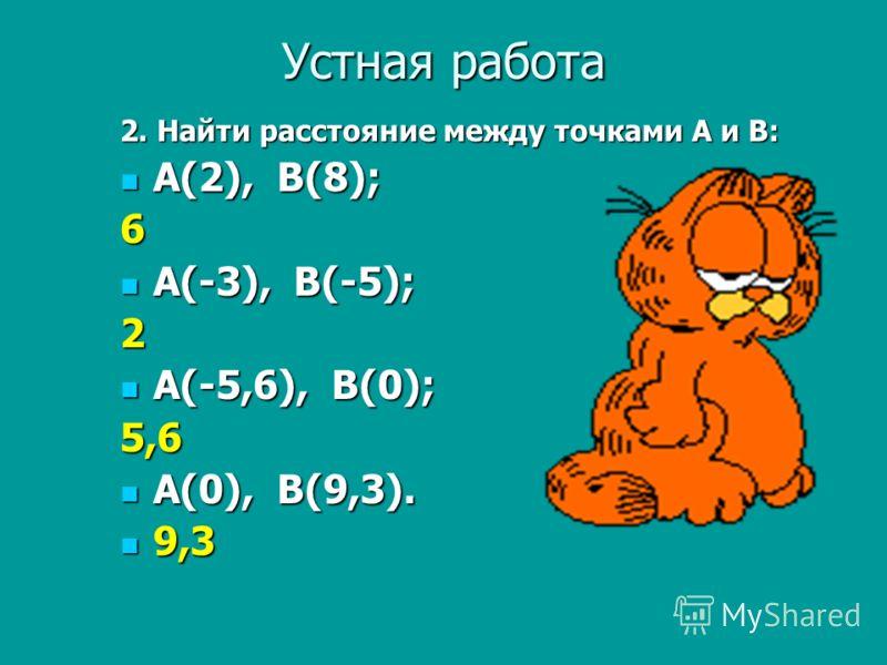 Устная работа 2. Найти расстояние между точками А и В: А(2), В(8); А(2), В(8);6 А(-3), В(-5); А(-3), В(-5);2 А(-5,6), В(0); А(-5,6), В(0);5,6 А(0), В(9,3). А(0), В(9,3). 9,3 9,3