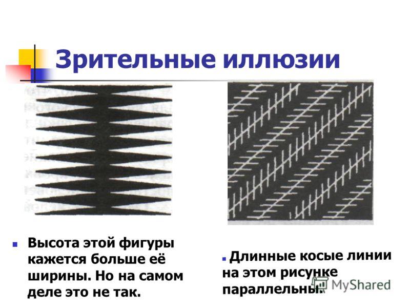 Зрительные иллюзии Высота этой фигуры кажется больше её ширины. Но на самом деле это не так. Длинные косые линии на этом рисунке параллельны.