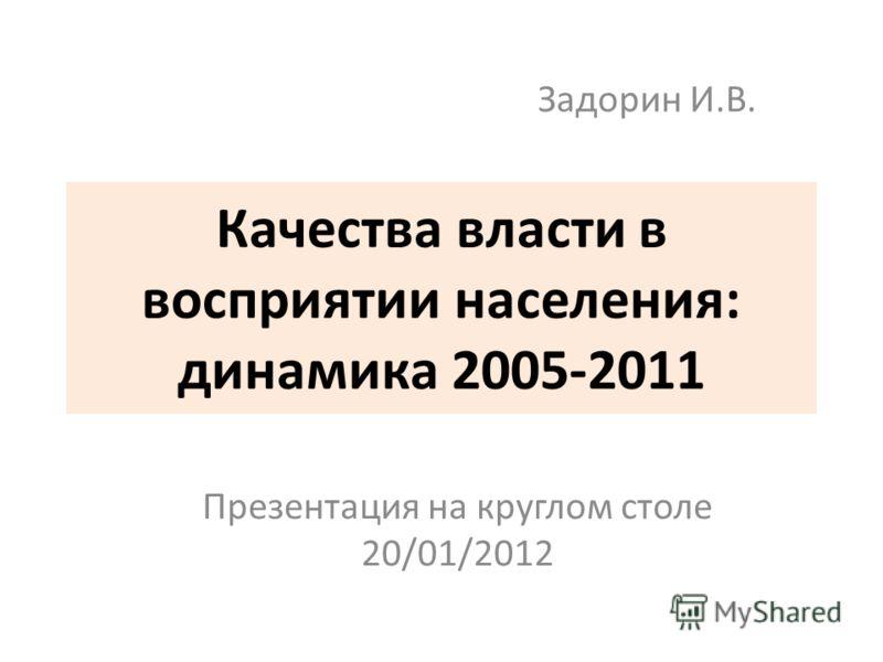 Качества власти в восприятии населения: динамика 2005-2011 Презентация на круглом столе 20/01/2012 Задорин И.В.