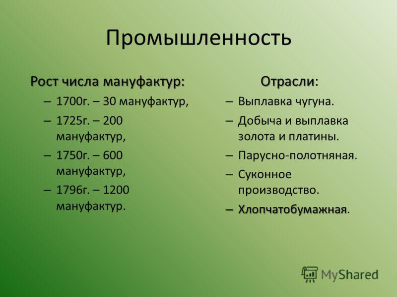 Промышленность Рост числа мануфактур: – 1700г. – 30 мануфактур, – 1725г. – 200 мануфактур, – 1750г. – 600 мануфактур, – 1796г. – 1200 мануфактур. Отрасли Отрасли: – Выплавка чугуна. – Добыча и выплавка золота и платины. – Парусно-полотняная. – Суконн