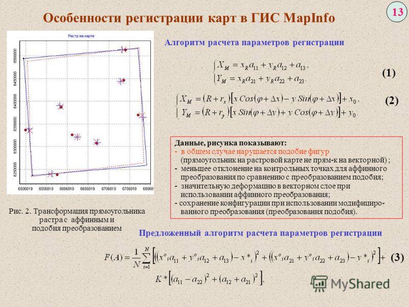 13 Рис. 2. Трансформация прямоугольника растра с аффинным и подобия преобразованием Особенности регистрации карт в ГИС MapInfo (1) (2) (3) Данные, рисунка показывают: - в общем случае нарушается подобие фигур (прямоугольник на растровой карте не прям