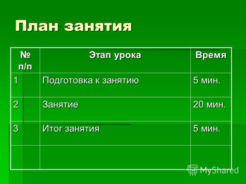 План занятия п/п п/п Этап урока Время 1 Подготовка к занятию 5 мин. 2Занятие 20 мин. 3 Итог занятия 5 мин.