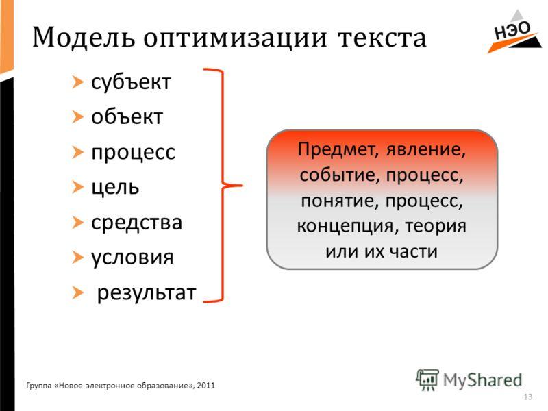 Модель оптимизации текста субъект объект процесс цель средства условия результат 13 Группа «Новое электронное образование», 2011 Предмет, явление, событие, процесс, понятие, процесс, концепция, теория или их части