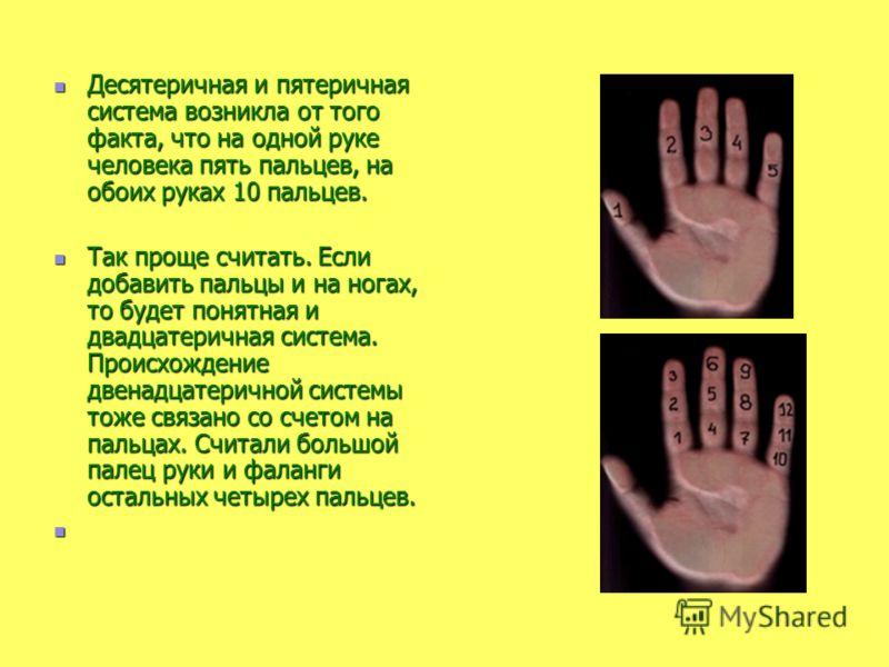 Десятеричная и пятеричная система возникла от того факта, что на одной руке человека пять пальцев, на обоих руках 10 пальцев. Десятеричная и пятеричная система возникла от того факта, что на одной руке человека пять пальцев, на обоих руках 10 пальцев