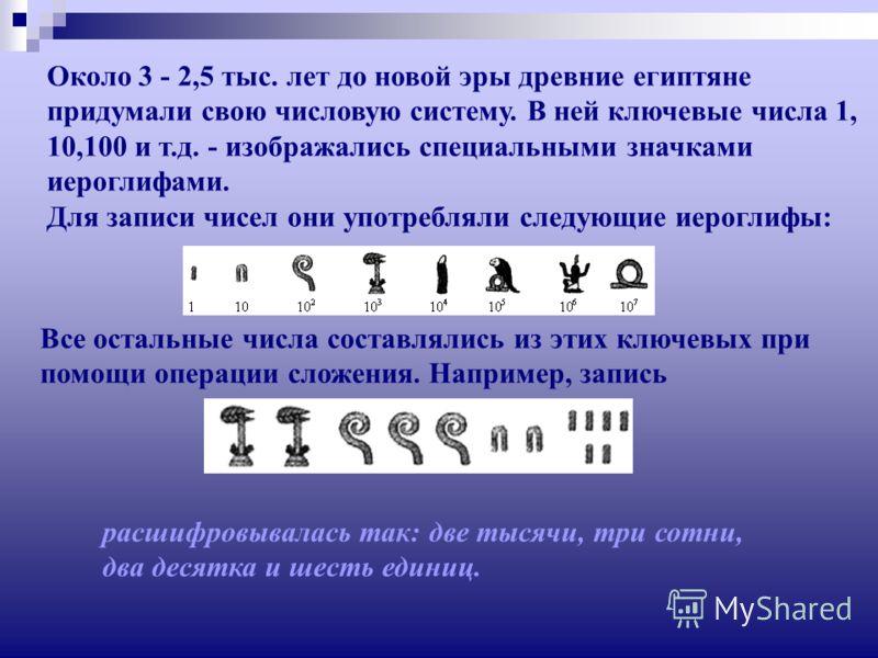 Около 3 - 2,5 тыс. лет до новой эры древние египтяне придумали свою числовую систему. В ней ключевые числа 1, 10,100 и т.д. - изображались специальными значками иероглифами. Для записи чисел они употребляли следующие иероглифы: Все остальные числа со