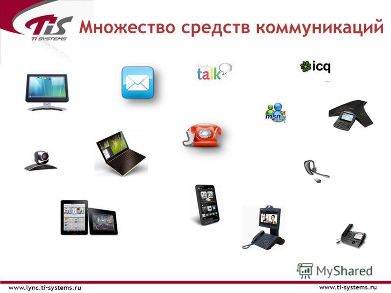 Множество средств коммуникаций www.ti-systems.ru www.lync.ti-systems.ru