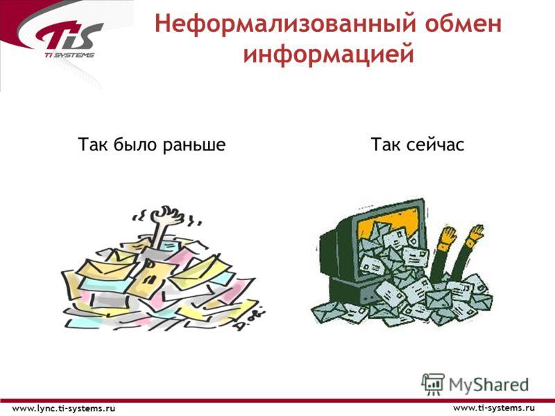 Так было раньшеТак сейчас Неформализованный обмен информацией www.ti-systems.ru www.lync.ti-systems.ru