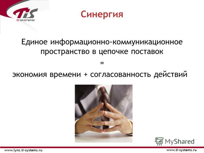 Единое информационно-коммуникационное пространство в цепочке поставок = экономия времени + согласованность действий Синергия www.ti-systems.ru www.lync.ti-systems.ru
