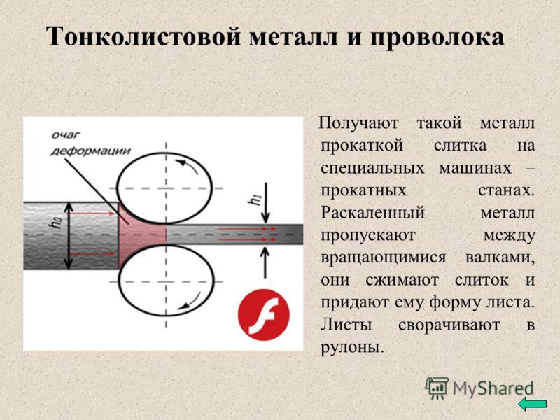 Тонколистовой металл и проволока Обычно в промышленности металлы применяются не в чистом виде, а в виде сплавов. К важнейшим металлическим сплавам относятся сталь и чугун (сплавы железа с углеродом), бронза (сплав меди с оловом), латунь (сплав меди с