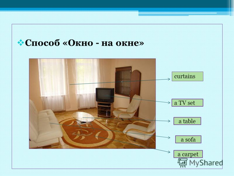 Способ «Окно - на окне» curtains a TV set a table a sofa a carpet