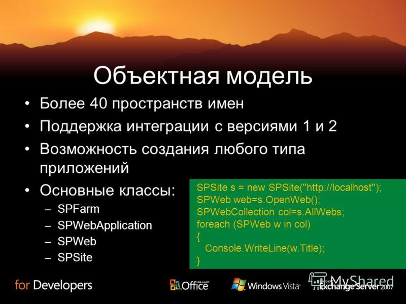 Объектная модель Более 40 пространств имен Поддержка интеграции с версиями 1 и 2 Возможность создания любого типа приложений Основные классы: –SPFarm –SPWebApplication –SPWeb –SPSite SPSite s = new SPSite(