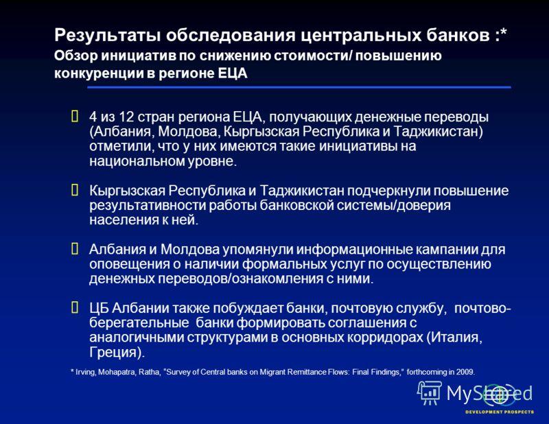 Результаты обследования ВБ центральных банков : Обзор страновых инициатив в регионе ЕЦА