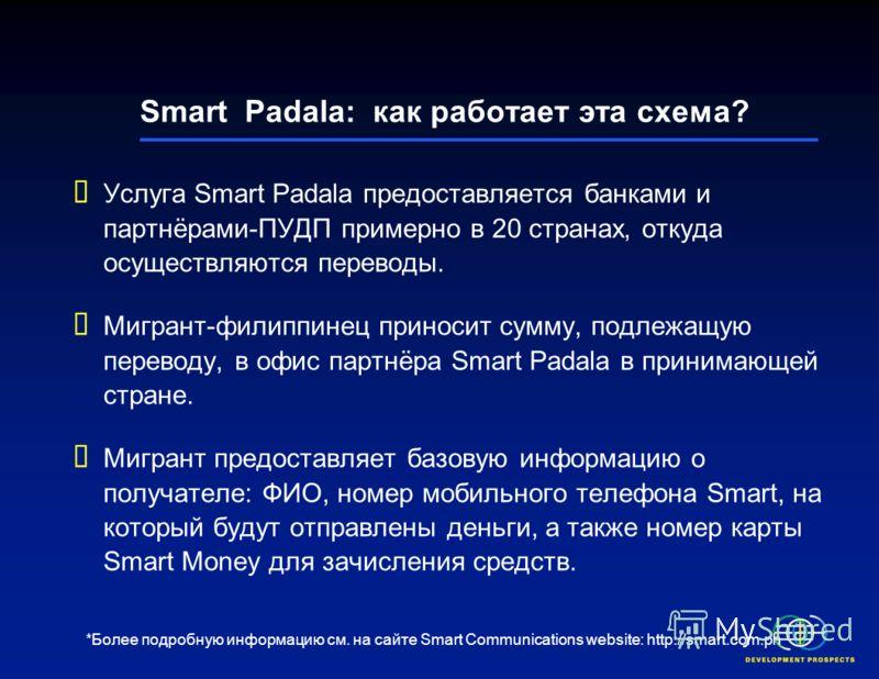 Smart Padala International* Smart Communications: ведущая компания по предоставлению услуг мобильной связи на Филиппинах В 2004 г. ввела услугу, позволяющую осуществлять трансграничные денежные переводы посредством текстовых сообщений Денежные перево