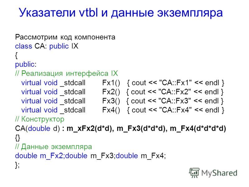 Рассмотрим код компонента сlass CA: public IX { public: // Реализация интерфейса IX virtual void _stdcallFx1(){ cout