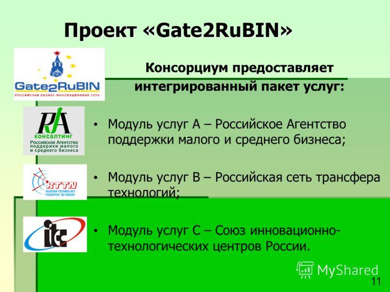 Проект «Gate2RuBIN» Консорциум предоставляет интегрированный пакет услуг: Модуль услуг А – Российское Агентство поддержки малого и среднего бизнеса; Модуль услуг В – Российская сеть трансфера технологий; Модуль услуг С – Союз инновационно- технологич