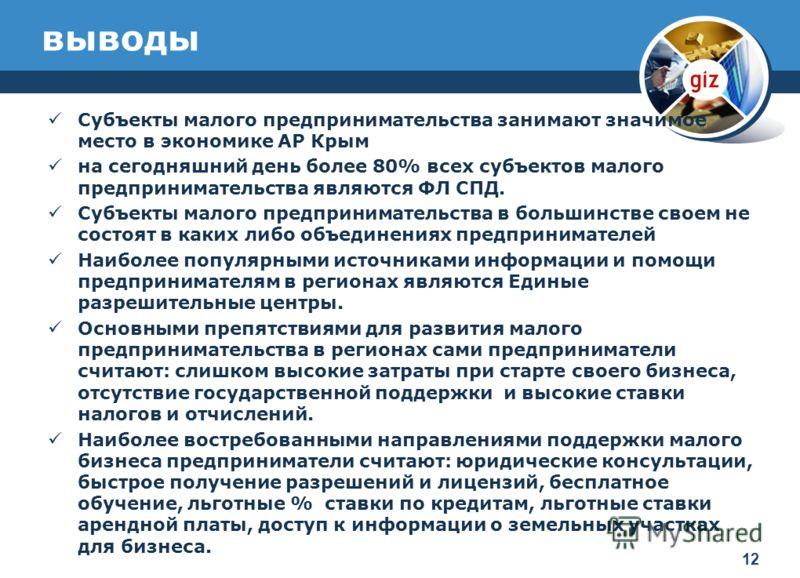 выводы Субъекты малого предпринимательства занимают значимое место в экономике АР Крым на сегодняшний день более 80% всех субъектов малого предпринимательства являются ФЛ СПД. Субъекты малого предпринимательства в большинстве своем не состоят в каких