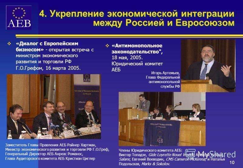 9 4. Укрепление экономической интеграции между Россией и Евросоюзом АЕБ обеспечивает необходимую связь между официальными лицами Европейского Союза и представителями российских и европейских политических и деловых кругов 16 марта 2005 в рамках органи