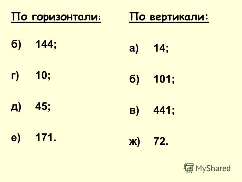 По горизонтали : б)144; г)10; д)45; е)171. По вертикали: а)14; б)101; в)441; ж)72.