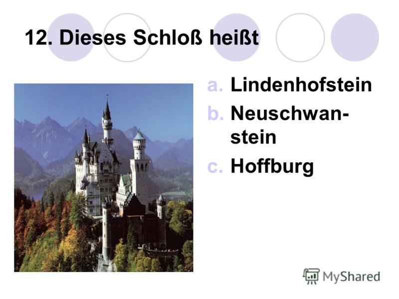 12. Dieses Schloß heißt a.Lindenhofstein b.Neuschwan- stein c.Hoffburg