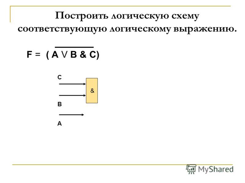 F = ( А V В & C) & С В А Построить логическую схему соответствующую логическому выражению.