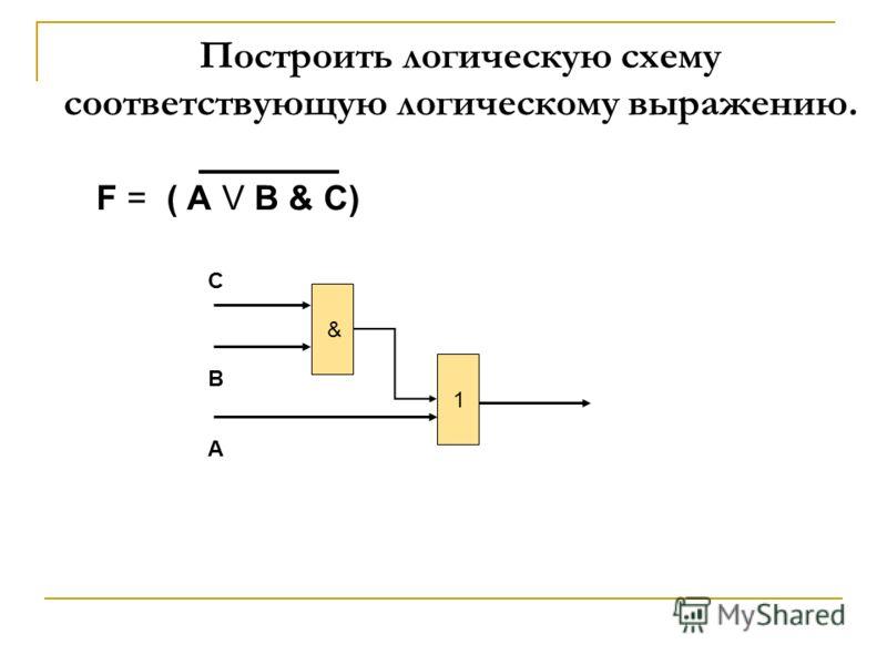 F = ( А V В & C) & 1 С В А Построить логическую схему соответствующую логическому выражению.