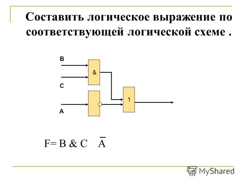 & 1 B C A F= B & C A Составить логическое выражение по соответствующей логической схеме.