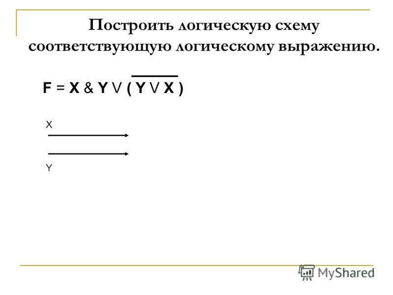 X Y Построить логическую схему соответствующую логическому выражению.