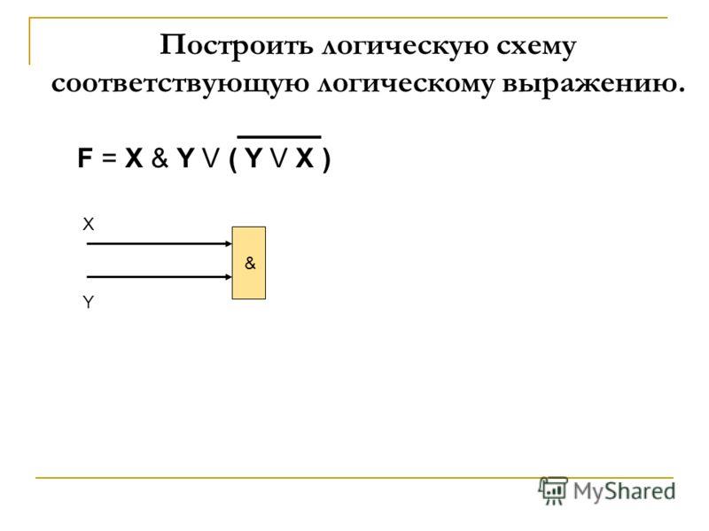 F = X & Y V ( Y V X ) & X Y Построить логическую схему соответствующую логическому выражению.