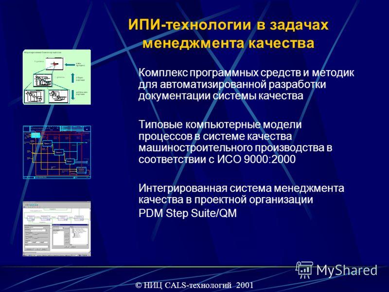 ИПИ-технологии в задачах менеджмента качества Комплекс программных средств и методик для автоматизированной разработки документации системы качества Типовые компьютерные модели процессов в системе качества машиностроительного производства в соответст