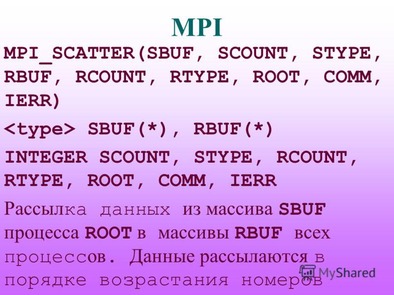 MPI MPI_SCATTER(SBUF, SCOUNT, STYPE, RBUF, RCOUNT, RTYPE, ROOT, COMM, IERR) SBUF(*), RBUF(*) INTEGER SCOUNT, STYPE, RCOUNT, RTYPE, ROOT, COMM, IERR Рассыл ка данных из массива SBUF процесса ROOT в массивы RBUF всех процесс ов. Данные рассылаются в по