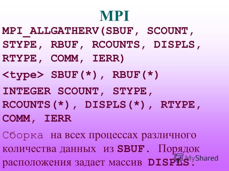 MPI MPI_ALLGATHERV(SBUF, SCOUNT, STYPE, RBUF, RCOUNTS, DISPLS, RTYPE, COMM, IERR) SBUF(*), RBUF(*) INTEGER SCOUNT, STYPE, RCOUNTS(*), DISPLS(*), RTYPE, COMM, IERR Сборка на всех процессах различного количества данных из SBUF. Порядок расположения зад
