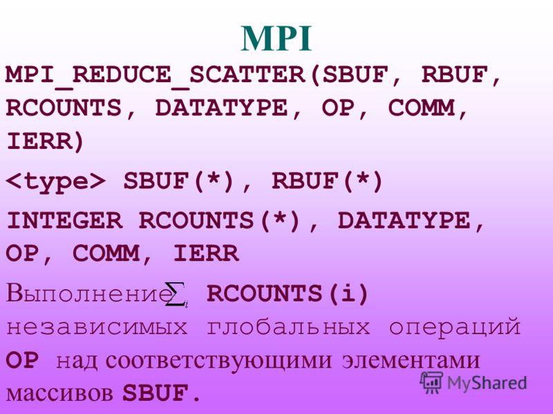 MPI MPI_REDUCE_SCATTER(SBUF, RBUF, RCOUNTS, DATATYPE, OP, COMM, IERR) SBUF(*), RBUF(*) INTEGER RCOUNTS(*), DATATYPE, OP, COMM, IERR В ыполнение RCOUNTS(i) независимых глобальных операций OP н ад соответствующими элементами массивов SBUF.