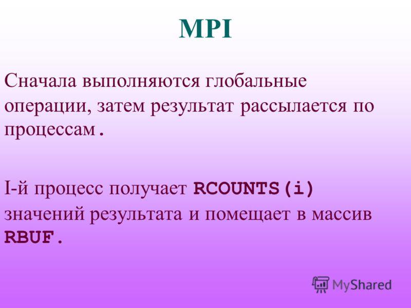 MPI Сначала выполняются глобальные операции, затем результат рассылается по процессам. I-й процесс получает RCOUNTS(i) значений результата и помещает в массив RBUF.