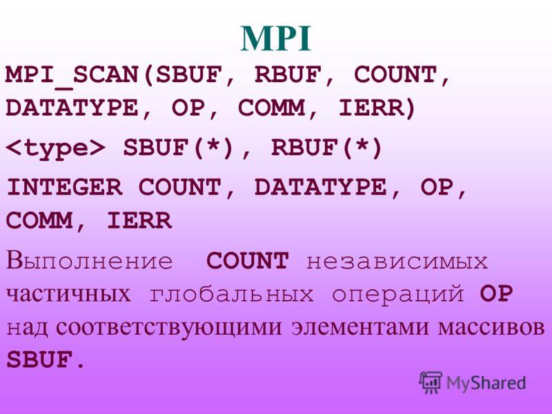 MPI MPI_SCAN(SBUF, RBUF, COUNT, DATATYPE, OP, COMM, IERR) SBUF(*), RBUF(*) INTEGER COUNT, DATATYPE, OP, COMM, IERR В ыполнение COUNT независимых частичных глобальных операций OP н ад соответствующими элементами массивов SBUF.