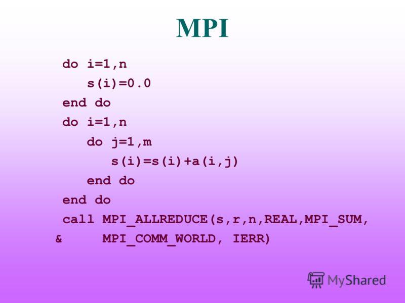 MPI do i=1,n s(i)=0.0 end do do i=1,n do j=1,m s(i)=s(i)+a(i,j) end do call MPI_ALLREDUCE(s,r,n,REAL,MPI_SUM, & MPI_COMM_WORLD, IERR)