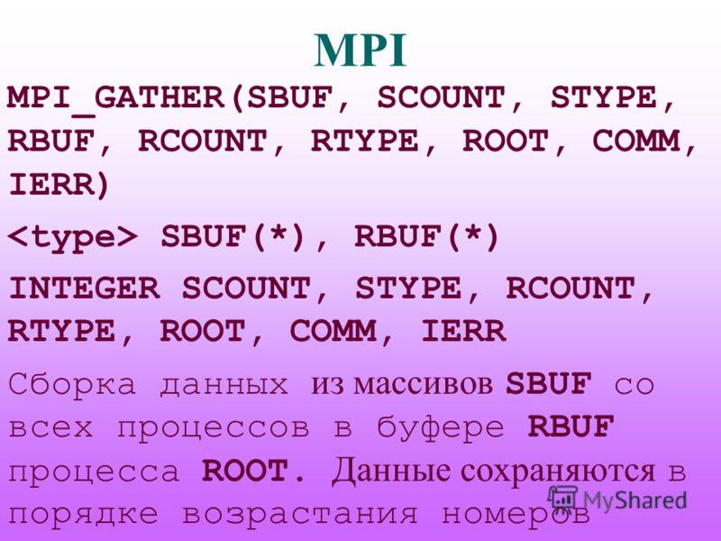 MPI MPI_GATHER(SBUF, SCOUNT, STYPE, RBUF, RCOUNT, RTYPE, ROOT, COMM, IERR) SBUF(*), RBUF(*) INTEGER SCOUNT, STYPE, RCOUNT, RTYPE, ROOT, COMM, IERR Сборка данных из массивов SBUF со всех процессов в буфере RBUF процесса ROOT. Данные сохраняются в поря