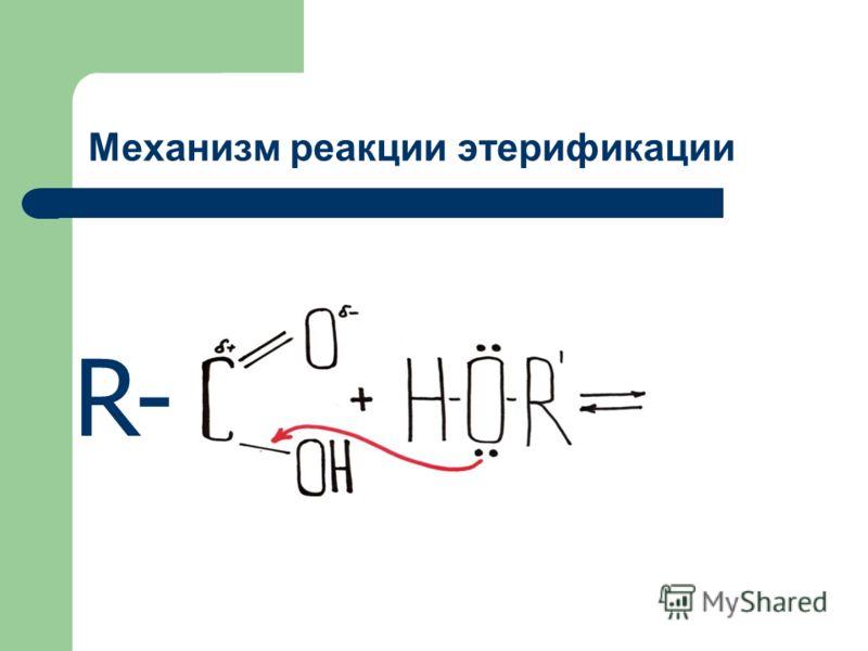 Механизм реакции этерификации R-R-
