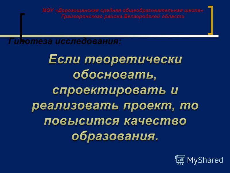 МОУ «Дорогощанская средняя общеобразовательная школа» Грайворонского района Белгородской области Гипотеза исследования:
