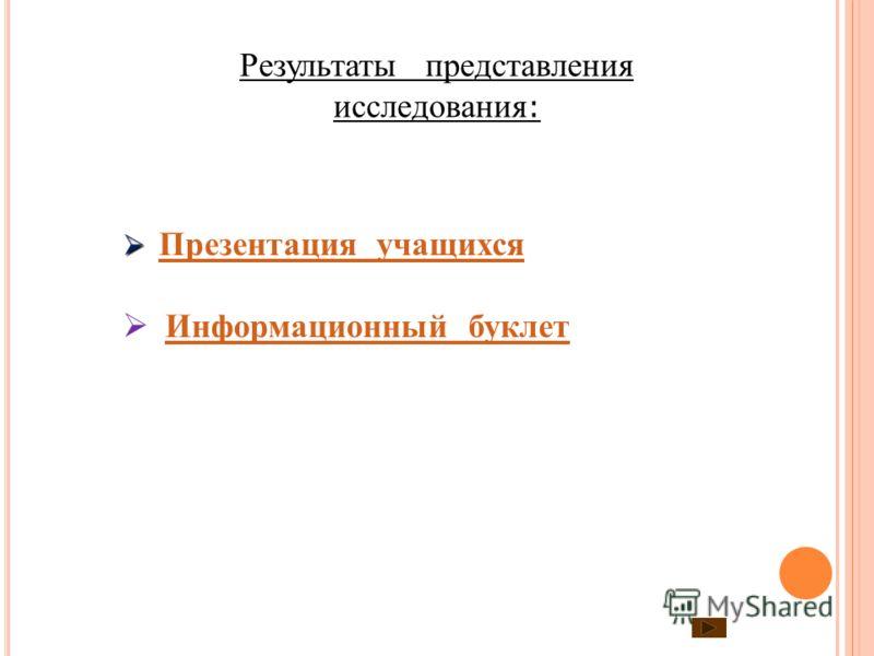 Результаты представления исследования : Презентация учащихся Информационный буклет