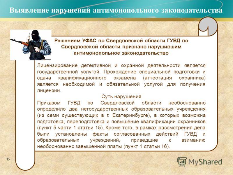 15 Выявление нарушений антимонопольного законодательства Решением УФАС по Свердловской области ГУВД по Свердловской области признано нарушившим антимонопольное законодательство Лицензирование детективной и охранной деятельности является государственн
