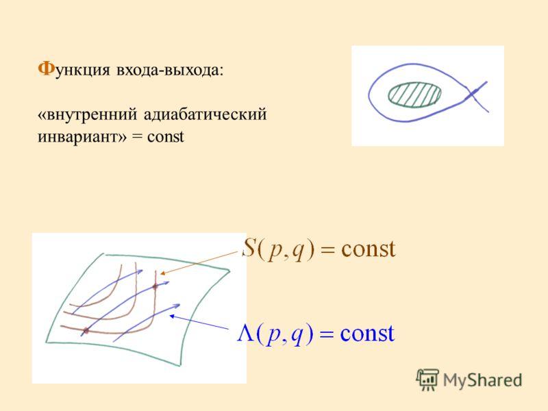 Ф ункция входа-выхода: «внутренний адиабатический инвариант» = const