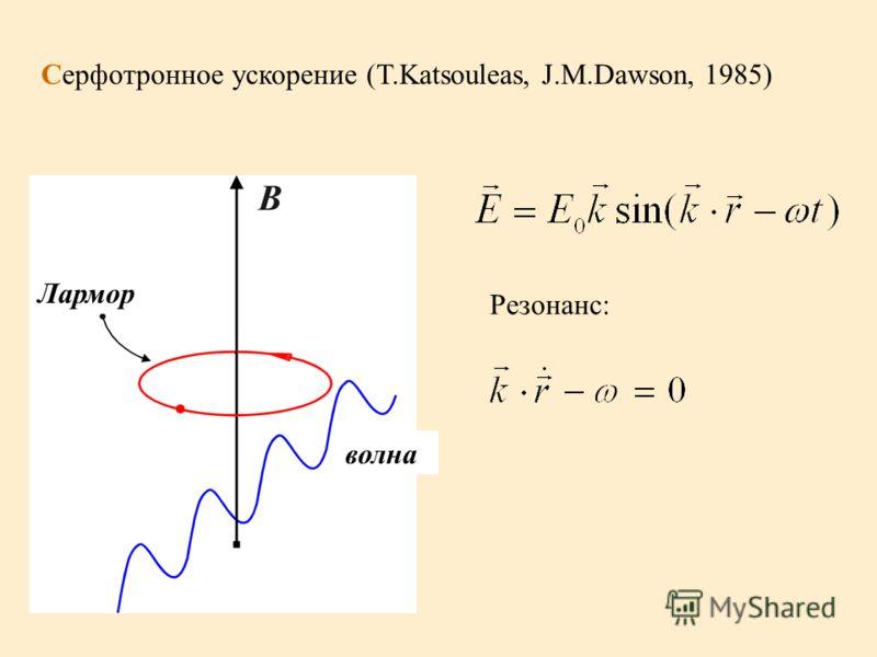 Резонанс: Серфотронное ускорение (T.Katsouleas, J.M.Dawson, 1985) Лармор волна