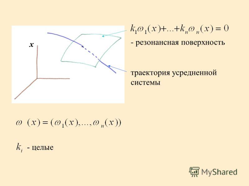 x - резонансная поверхность траектория усредненной системы - целые